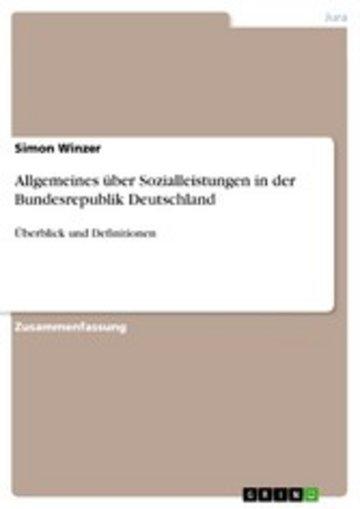 eBook Allgemeines über Sozialleistungen in der Bundesrepublik Deutschland Cover