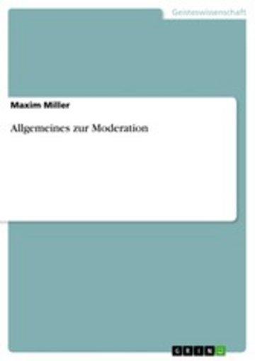 eBook Allgemeines zur Moderation Cover