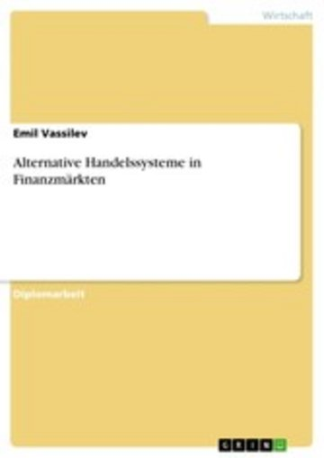 eBook Alternative Handelssysteme in Finanzmärkten Cover