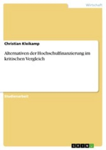 eBook Alternativen der Hochschulfinanzierung im kritischen Vergleich Cover
