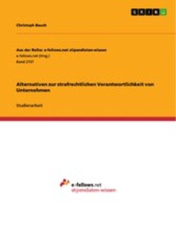 eBook Alternativen zur strafrechtlichen Verantwortlichkeit von Unternehmen Cover