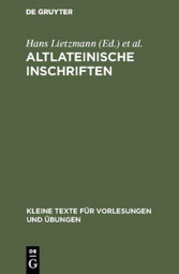 eBook Altlateinische Inschriften Cover
