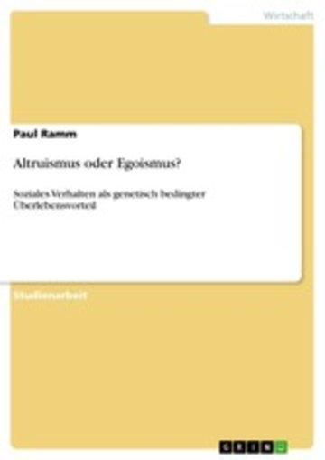 eBook Altruismus oder Egoismus? Cover