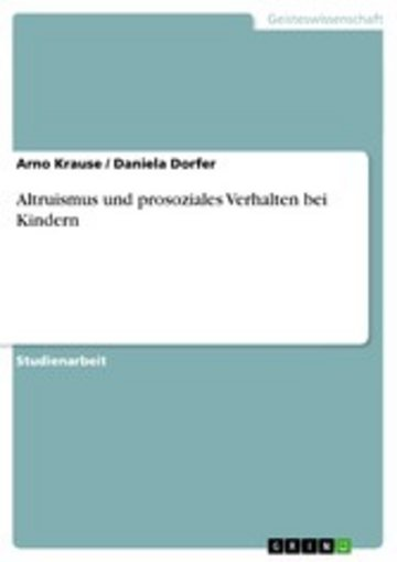 eBook Altruismus und prosoziales Verhalten bei Kindern Cover