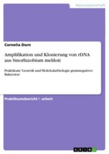 eBook Amplifikation und Klonierung von rDNA aus Sinorhizobium meliloti Cover