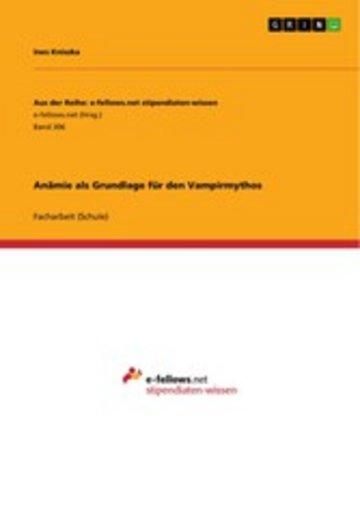 eBook Anämie als Grundlage für den Vampirmythos Cover