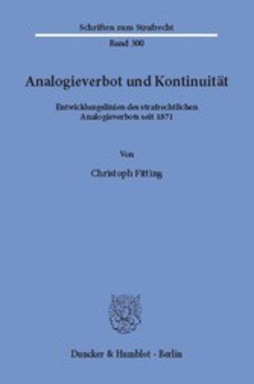 eBook Analogieverbot und Kontinuität. Cover