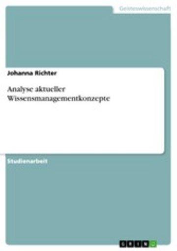 eBook Analyse aktueller Wissensmanagementkonzepte Cover