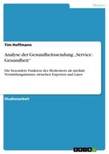 eBook Analyse der Gesundheitssendung 'Service: Gesundheit' Cover