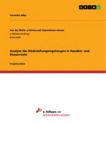 eBook Analyse der Rückstellungsregelungen in Handels- und Steuerrecht Cover