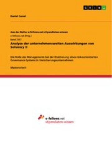 eBook Analyse der unternehmensweiten Auswirkungen von Solvency II Cover