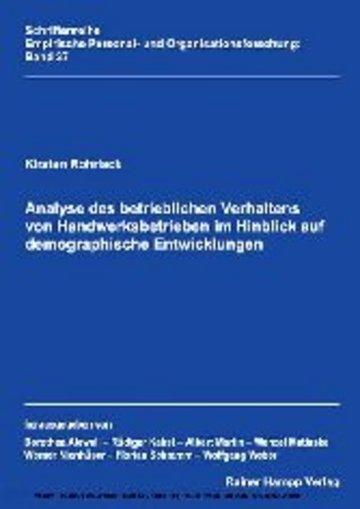 eBook Analyse des betrieblichen Verhaltens von Handwerksbetrieben im Hinblick auf demographische Entwicklungen Cover
