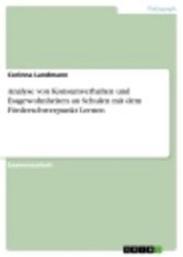 eBook Analyse von Konsumverhalten und Essgewohnheiten an Schulen mit dem Förderschwerpunkt Lernen Cover