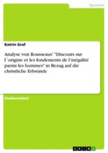 eBook Analyse von Rousseaus' 'Discours sur l´origine et les fondements de l'inégalité parmi les hommes' in Bezug auf die christliche Erbsünde Cover