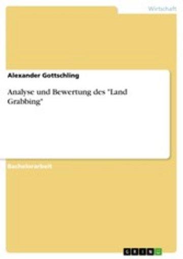 eBook Analyse und Bewertung des 'Land Grabbing' Cover