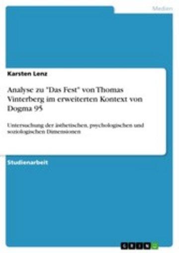 eBook Analyse zu 'Das Fest' von Thomas Vinterberg im erweiterten Kontext von Dogma 95 Cover