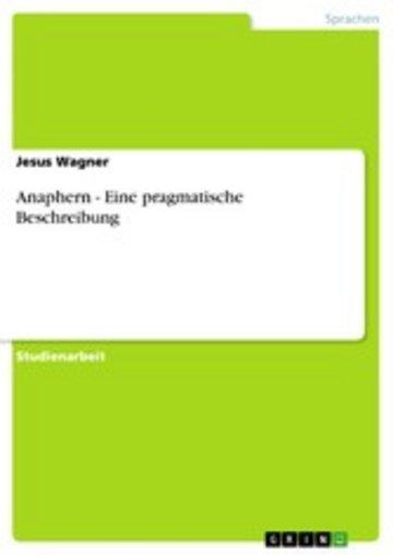 eBook Anaphern - Eine pragmatische Beschreibung Cover