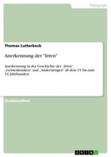 eBook Anerkennung der 'Irren' Cover