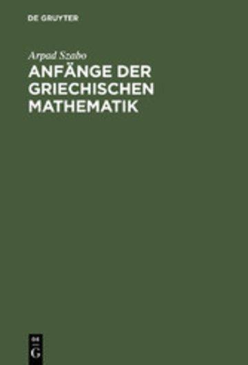 eBook Anfänge der griechischen Mathematik Cover