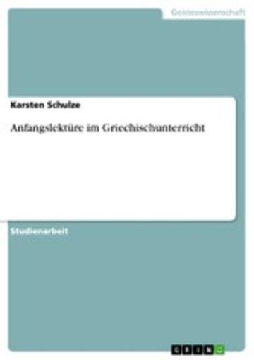 eBook Anfangslektüre im Griechischunterricht Cover