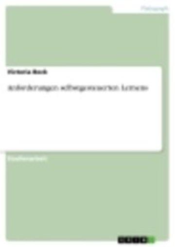 eBook Anforderungen selbstgesteuerten Lernens Cover