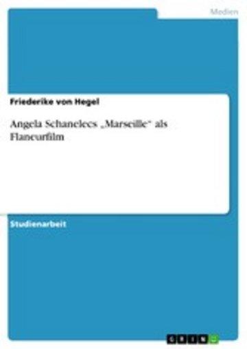 eBook Angela Schanelecs 'Marseille' als Flaneurfilm Cover