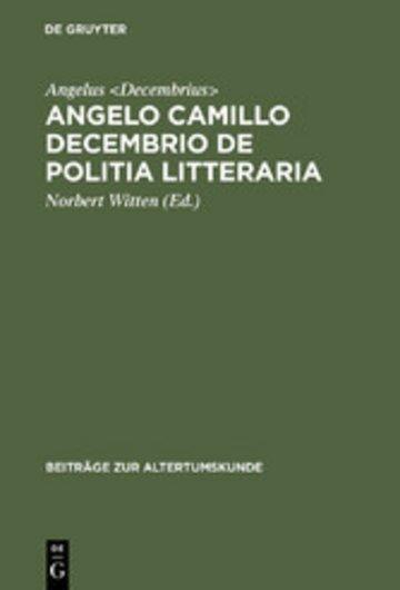 eBook Angelo Camillo Decembrio De politia litteraria Cover