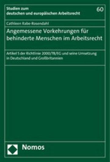 eBook Angemessene Vorkehrungen für behinderte Menschen im Arbeitsrecht Cover