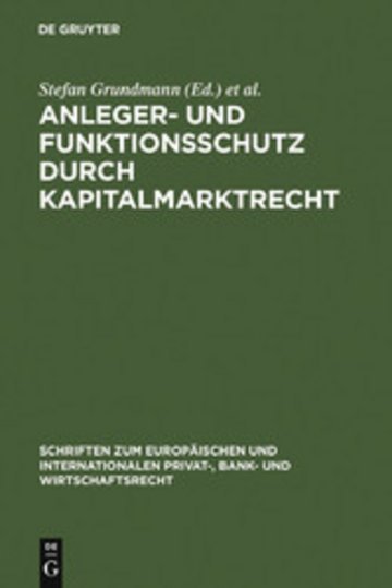 eBook Anleger- und Funktionsschutz durch Kapitalmarktrecht Cover