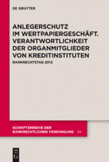 eBook Anlegerschutz im Wertpapiergeschäft. Verantwortlichkeit der Organmitglieder von Kreditinstituten Cover