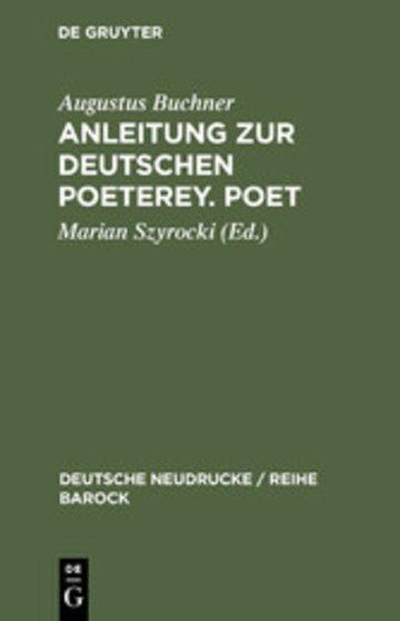 eBook Anleitung zur deutschen Poeterey. Poet Cover