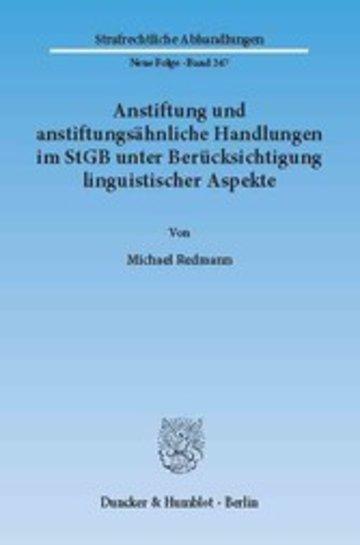 eBook Anstiftung und anstiftungsähnliche Handlungen im StGB unter Berücksichtigung linguistischer Aspekte. Cover