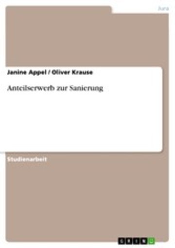 eBook Anteilserwerb zur Sanierung Cover