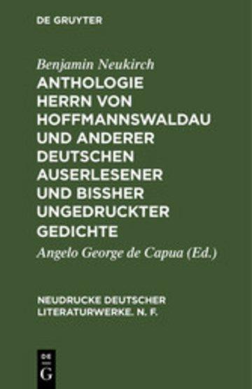 eBook Anthologie Herrn von Hoffmannswaldau und anderer Deutschen auserlesener und bißher ungedruckter Gedichte Cover