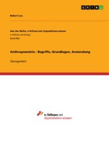 eBook Anthropometrie - Begriffe, Grundlagen, Anwendung Cover