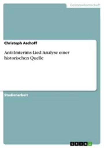 eBook Anti-Imterims-Lied: Analyse einer historischen Quelle Cover