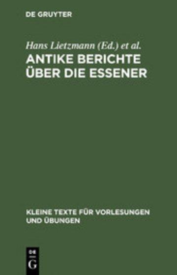 eBook Antike Berichte über die Essener Cover