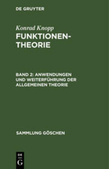eBook Anwendungen und Weiterführung der allgemeinen Theorie Cover