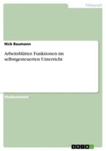 eBook Arbeitsblätter. Funktionen im selbstgesteuerten Unterricht Cover