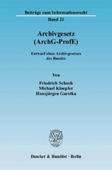 eBook Archivgesetz (ArchG-ProfE). Cover