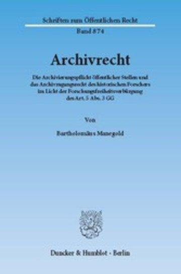 eBook Archivrecht. Cover