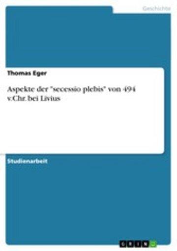 eBook Aspekte der 'secessio plebis' von 494 v.Chr. bei Livius Cover