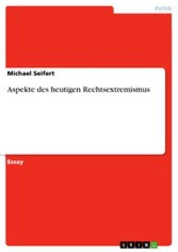eBook Aspekte des heutigen Rechtsextremismus Cover