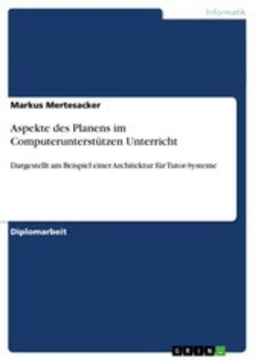 eBook Aspekte des Planens im Computerunterstützen Unterricht Cover