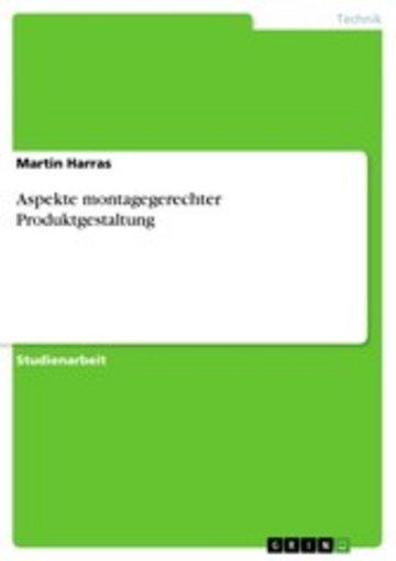 eBook Aspekte montagegerechter Produktgestaltung Cover