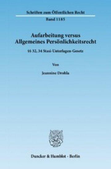 eBook Aufarbeitung versus Allgemeines Persönlichkeitsrecht. Cover
