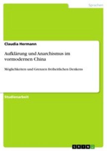 eBook Aufklärung und Anarchismus im vormodernen China Cover
