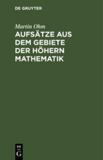 eBook Aufsätze aus dem Gebiete der höhern Mathematik Cover