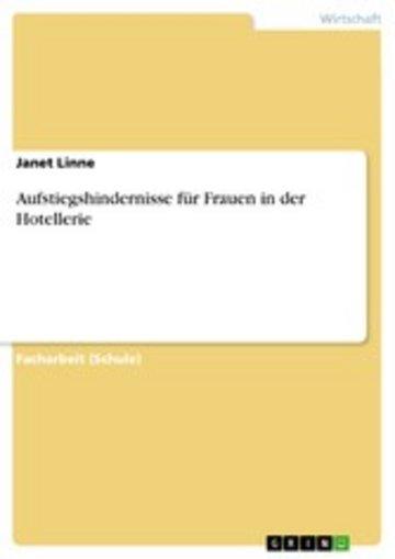eBook Aufstiegshindernisse für Frauen in der Hotellerie Cover