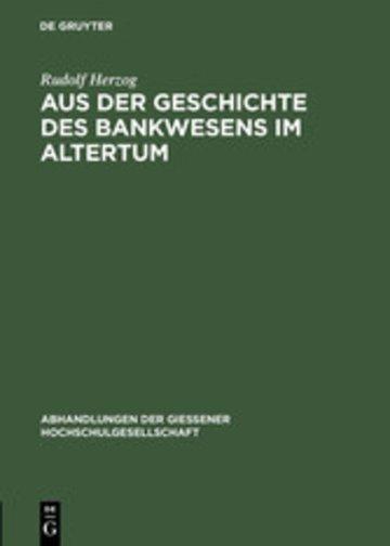 eBook Aus der Geschichte des Bankwesens im Altertum Cover
